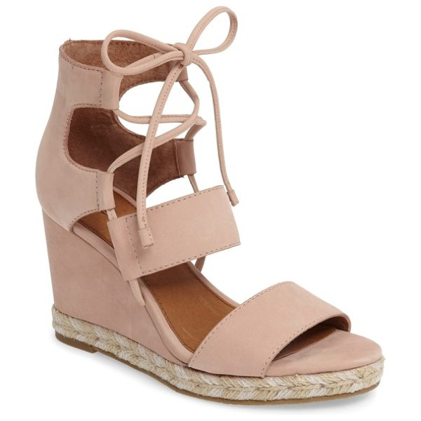 FRYE roberta ghillie wedge in blush - Ghillie-style laces bridge the open top of a standout...