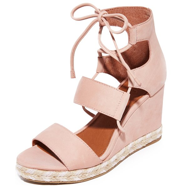 FRYE roberta ghillie wedge sandals in blush - Slim laces secure the wide straps on these suede Frye...