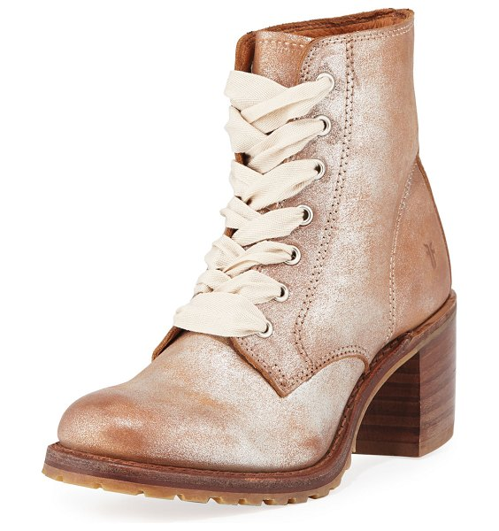 """Frye Sabrina Metallic Suede Boots in silver - Frye """"Sabrina"""" metallic brushed suede boots with logo...."""