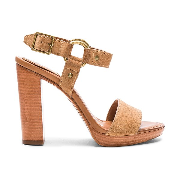 Frye Sara Harness Heel in tan - Leather upper and sole. Ankle strap with ring detail and...