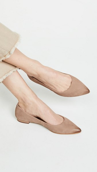 Frye sienna ballet flats in dark taupe - Leather: Cowhide Burnished leather Ballet flats Pointed...