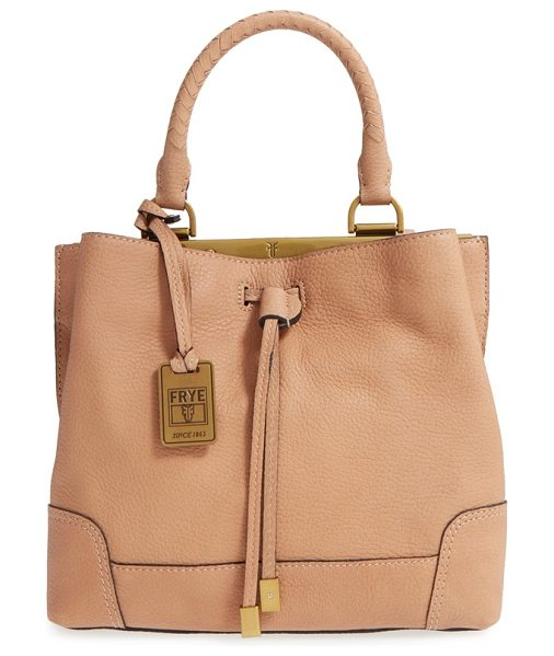 Frye Small fay framed leather drawstring handbag in natural - A metal-tipped drawstring closure gathers the top of a...