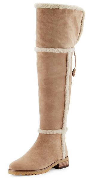 Frye Tamara Shearling Over-The-Knee Boot in taupe - Frye dyed sheep shearling (Spain) fur over-the-knee...