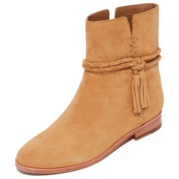 Frye tina whipstitch tassel booties in camel - Whipstitching accents the notched sides of these smooth...