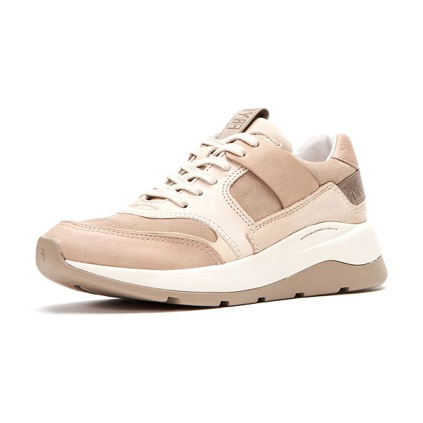 "Frye Willow Low Lace-Up Leather/Suede Running Sneakers in sand - Frye leather and suede running sneaker. 1.5"" heel...."