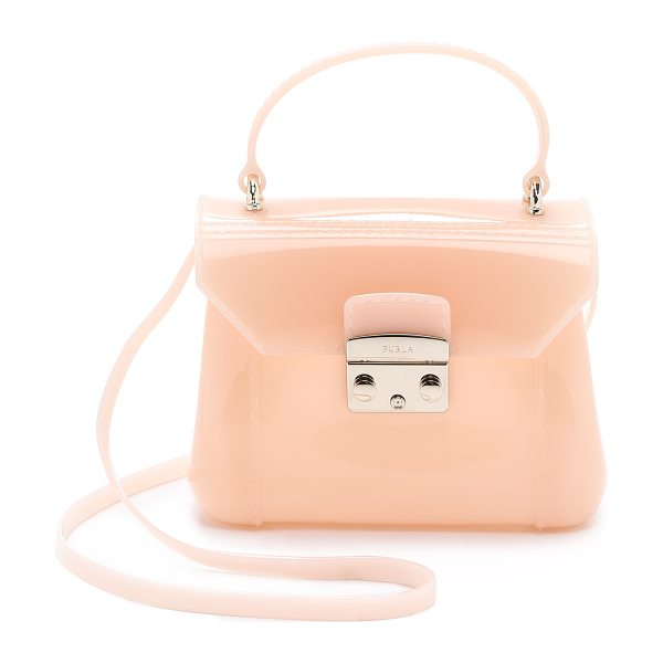 Furla Candy bon bon mini cross body bag in pale pink - A petite Furla bag in structured rubber. Coated,...
