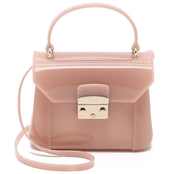 Furla Candy bon bon mini cross body bag in moonstone - A petite Furla bag in structured rubber. Polished...