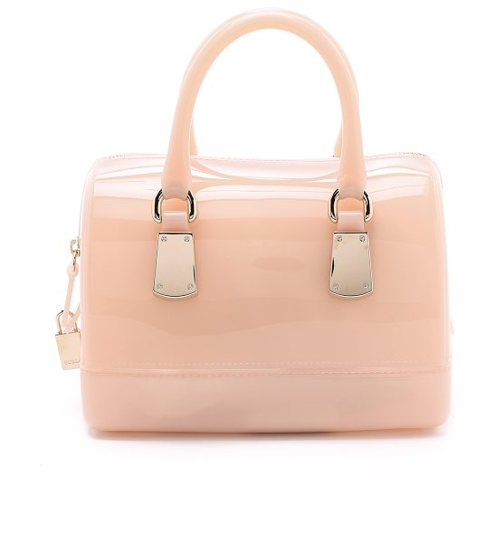 Furla Candy cookie mini satchel in pale pink - A structured Furla tote, rendered in high gloss rubber....
