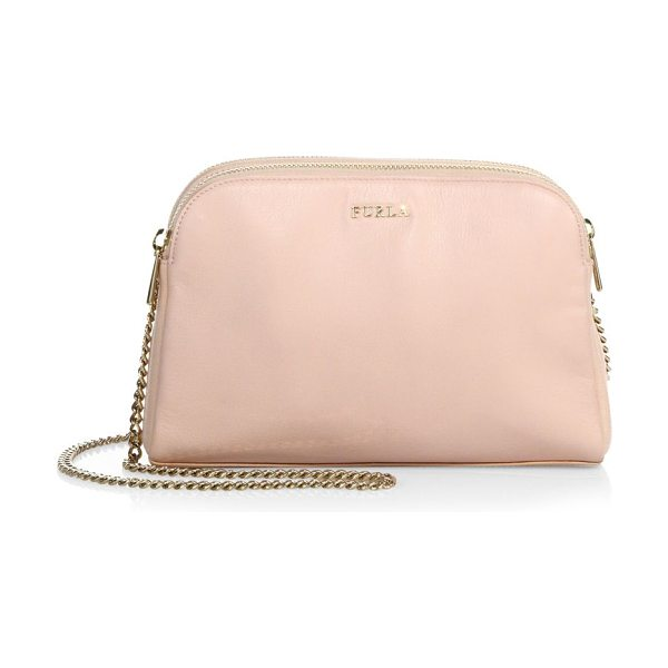 Furla capriccio xl leather crossbody pouch in magnolia - Double leather zip pouches shape crossbody bag. Chain...