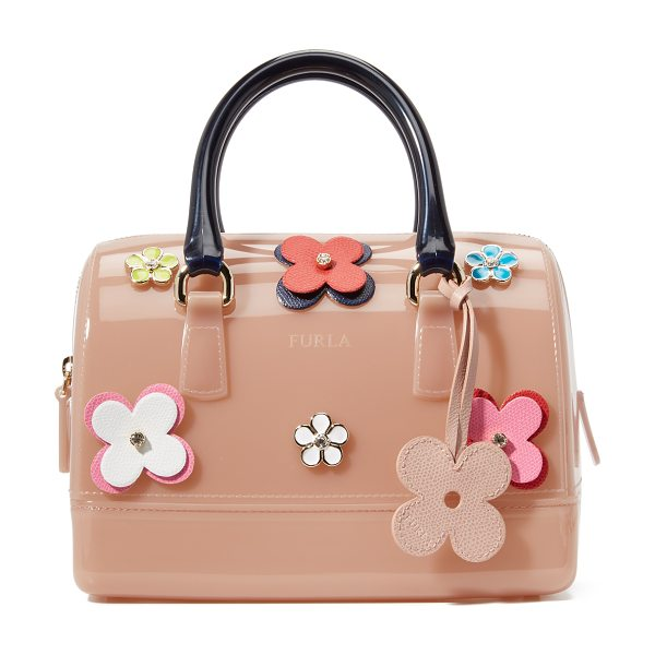 Furla Floral candy cookie satchel in moonstone/navy - A Furla bag in colorful rubber, accented with floral...