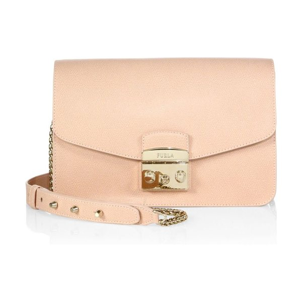 Furla metropolis leather shoulder bag in magnolia - Textured leather envelope style with signature hardware....