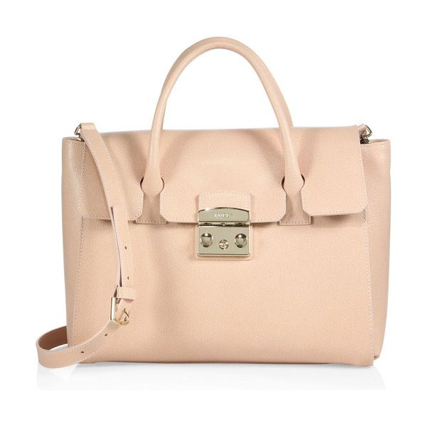 Furla metropolis leather satchel in magnolia - Textured leather satchel accented with signature...