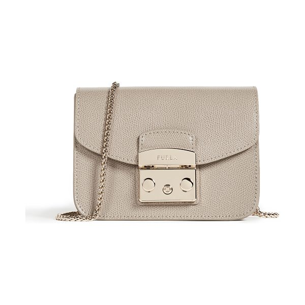 FURLA metropolis mini cross body bag in sabbia - Leather: Cowhide Push-button clasp at front Patch...