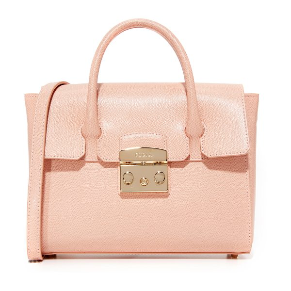 FURLA Metropolis small satchel in moonstone - A small, structured Furla bag in saffiano leather. A...