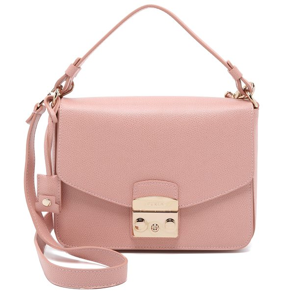 Furla Metropolis small shoulder bag in moonstone - A structured Furla bag in pebbled leather. The polished...