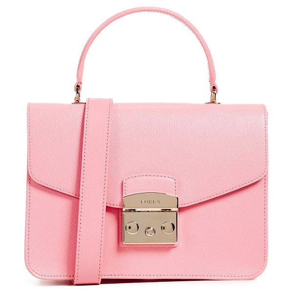 FURLA metropolis small top handle bag in rosa quarzo - Leather: Cowhide Push-button clasp at front Patch...