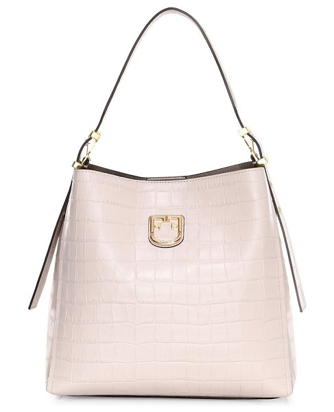 Furla small belvedere croc-embossed leather hobo bag in pink
