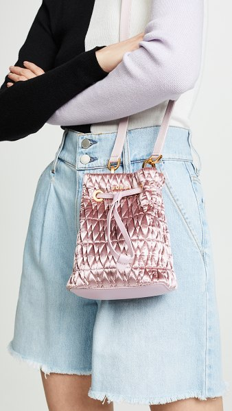 Furla stacy cometa mini drawstring bag in rosa - Fabric: Quilted velvet Leather details Gold-tone...