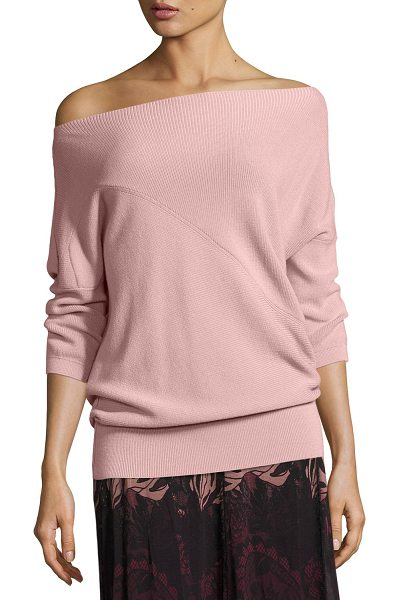 FUZZI 3/4-Sleeve Off-the-Shoulder Wool Sweater in light pink - Fuzzi ribbed virgin wool sweater features asymmetric...