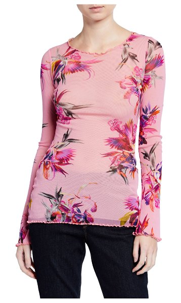 FUZZI Floral Long-Sleeve Top in pink