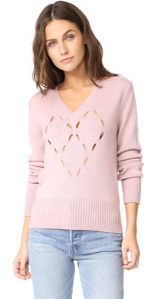 FUZZI heart sweater in light pink - Small holes form a charming heart graphic on this soft...