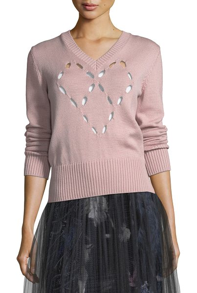 FUZZI Merino Heart Cutout Sweater - Fuzzi merino wool sweater features heart cutout at...