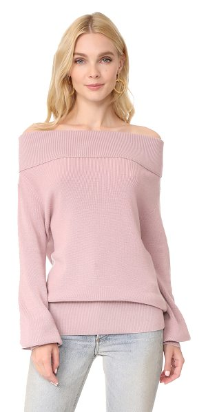 FUZZI off shoulder top - A soft Fuzzi sweater with an off-shoulder neckline and...
