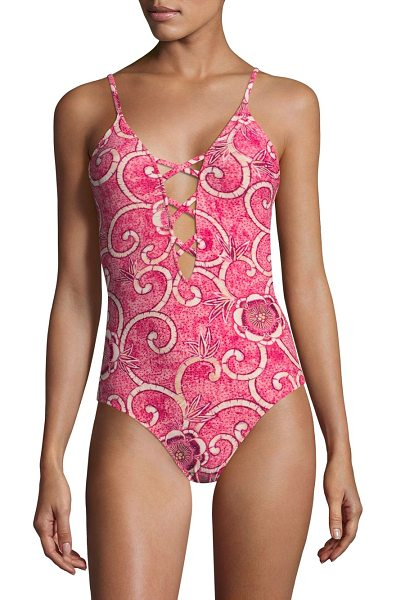 Fuzzi Swim printed one-piece swimsuit in pink lima - From the Stampa Scrool Batik Collection. Swirly floral...