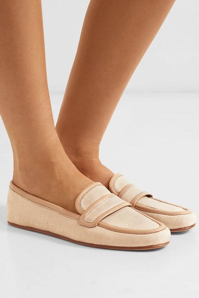 Gabriela Hearst brodie leather-trimmed linen loafers in beige