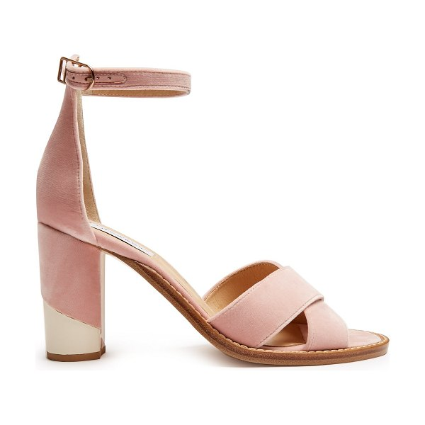 Gabriela Hearst John crossover velvet sandals in light pink - Gabriela Hearst's baby-pink velvet John sandals are...