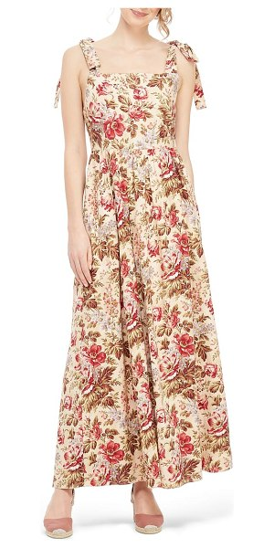 Gal Meets Glam Collection floral print tie shoulder cotton maxi dress in beige