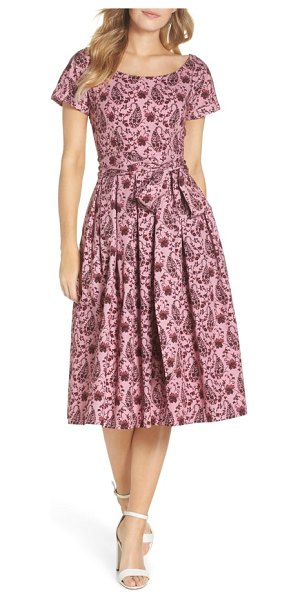 Gal Meets Glam Collection hallie fit & flare dress in rose/ light burgundy