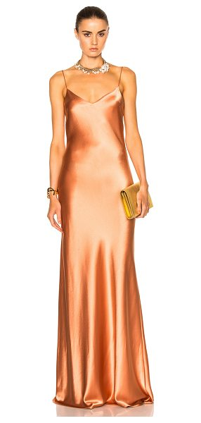 Galvan London Alcazar V-Neck Dress in orange - 81% triacetate 19% poly.  Made in UK.  Dry clean only.  Unlined.