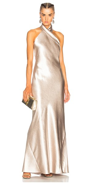 Galvan London Asymmetrical Bias Cut Dress in metallics - 100% poly.  Made in UK.  Dry clean only.  Unlined. ...