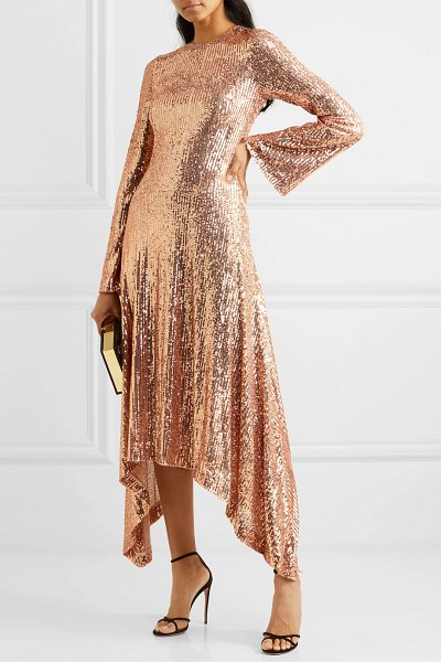 Galvan London asymmetric sequined tulle gown in blush