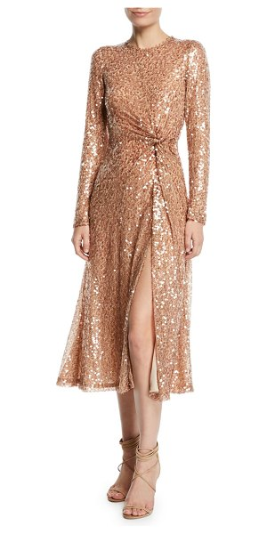 "Galvan London Pinwheel Sequined Twist-Front Dress in gold - Galvan ""Pinwheel"" cocktail dress with sequined overlay...."