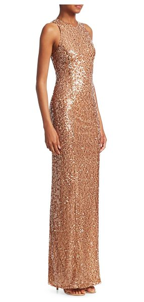 Galvan London sequin bodycon gown in copper