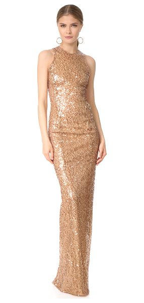 Galvan London sequin racer dress in copper - Glossy paillettes drape from the lightweight, metallic...