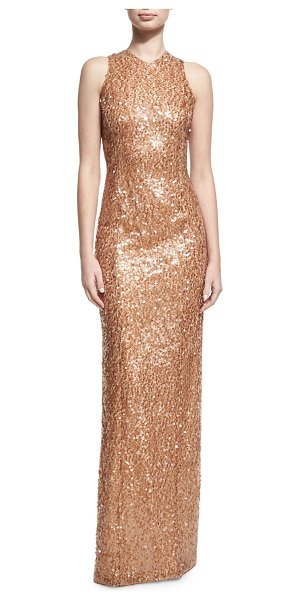 Galvan London Sequined Racerback Column Gown in gold