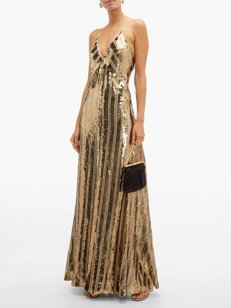 Galvan London stardust sequinned maxi dress in gold