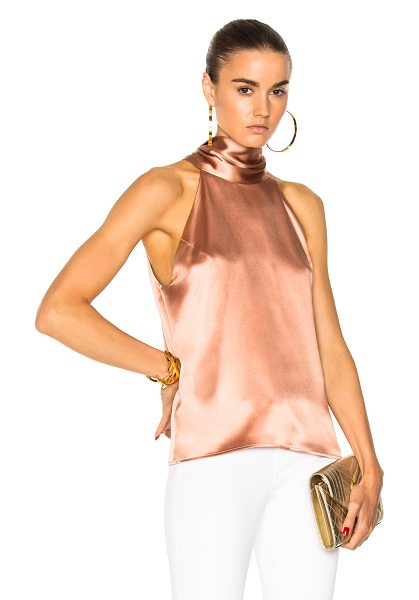 Galvan London Silk Sash Neck Top in rose gold - 100% silk. Made in UK. Dry clean only. Back keyhole with...