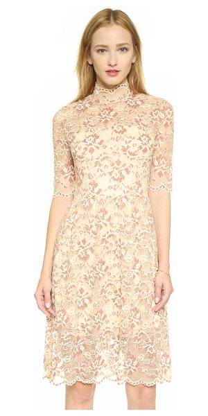Ganni Adelaide turtleneck lace dress in white smoke/copper brown - Contrast embroidery lends depth to the floral lace shell...