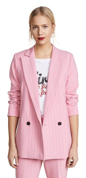 Ganni brighton blazer in sea pink - Fabric: Suiting Striped print Waist-length style Button...