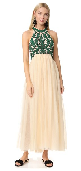 Ganni colby sequin gown in biscotti - Shimmery sequins form a vibrant floral motif across the...