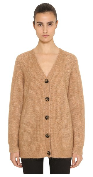 Ganni Evangelista mohair knit cardigan in camel - V neckline. Ribbed collar, cuffs and hem. Front button...