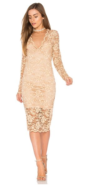 Ganni Flynn Lace Dress in beige - Nylon blend. Hand wash cold. Fully lined. Allover lace...