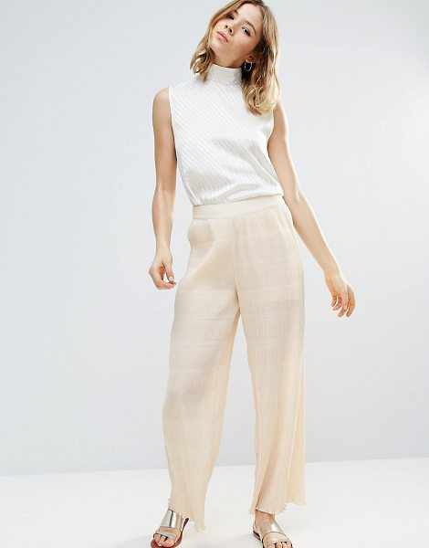"Ganni Hall Pleat Effect Pants In Ivory in cream - """"Pants by Ganni, Textured pleated fabric, Semi-sheer..."