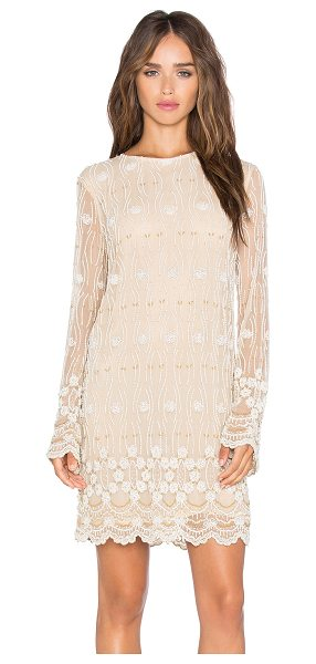Ganni Long Sleeve Embellished Shift Dress in cream - Nylon blend. Hand wash cold. Fully lined. Beaded...