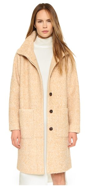 Ganni Long washington street coat in camel/vanilla ice - A cozy Ganni mock neck jacket in a fuzzy bouclé weave....