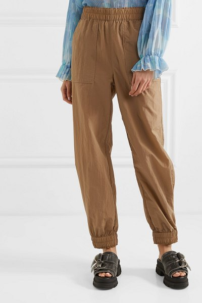 Ganni tech-shell track pants in sand
